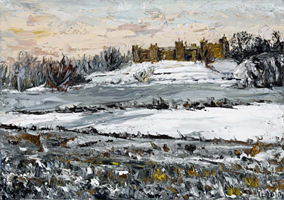 full view of oil painting - Framlingham Castle in Snow