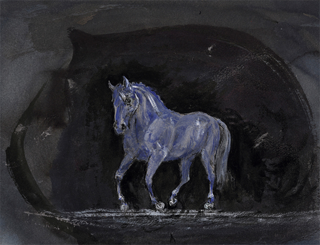 Watercolour and ink painting -  Horse approaching 2017 -19 x 25 cm