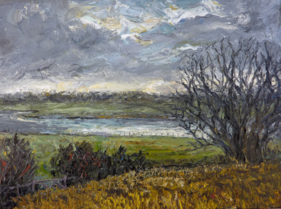 full view of oil painting - River Deben in winter, Suffollk