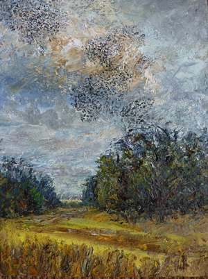 full view of oil painting - Flock of starlings above hayfield, Suffolk