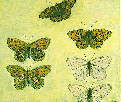 full view of oil painting - Fritillary and other butterflies