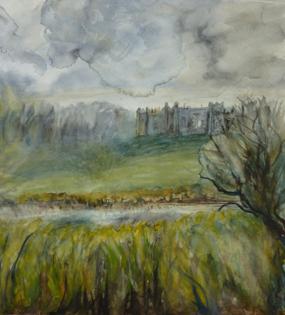 full view of watercolour - Framlingham Castle
