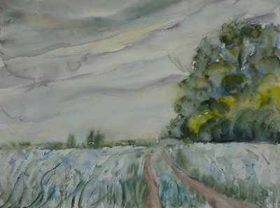 full view of watercolour - Linseed Fields on Downland