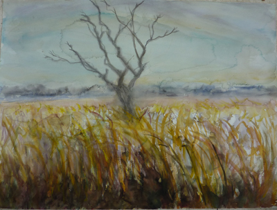 full view of watercolour - Skeleton Tree in Marshes